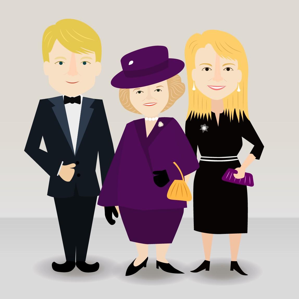 Cartoon characters- Dutch royal family members & politicians