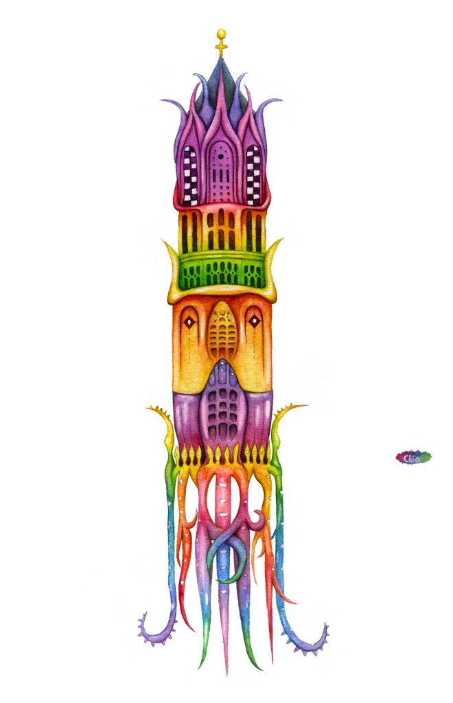 Hidden Creatures in Utrecht_Dom tower_Watercolor @ChiaDNA