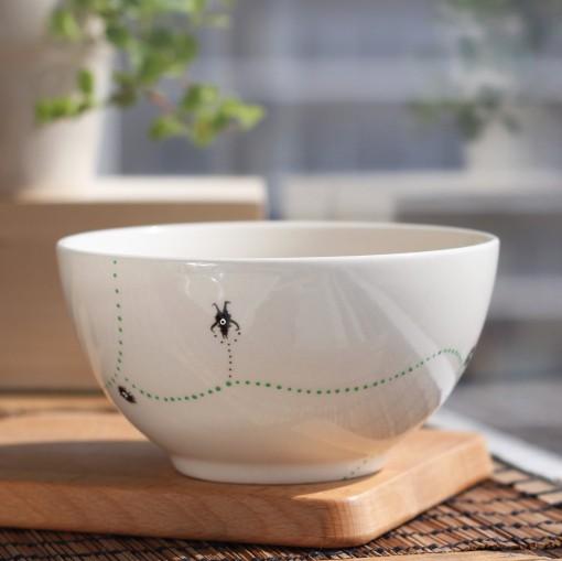 ... / Webshop / Hand-Painted Bowls / Ink Monster soup bowl (light green
