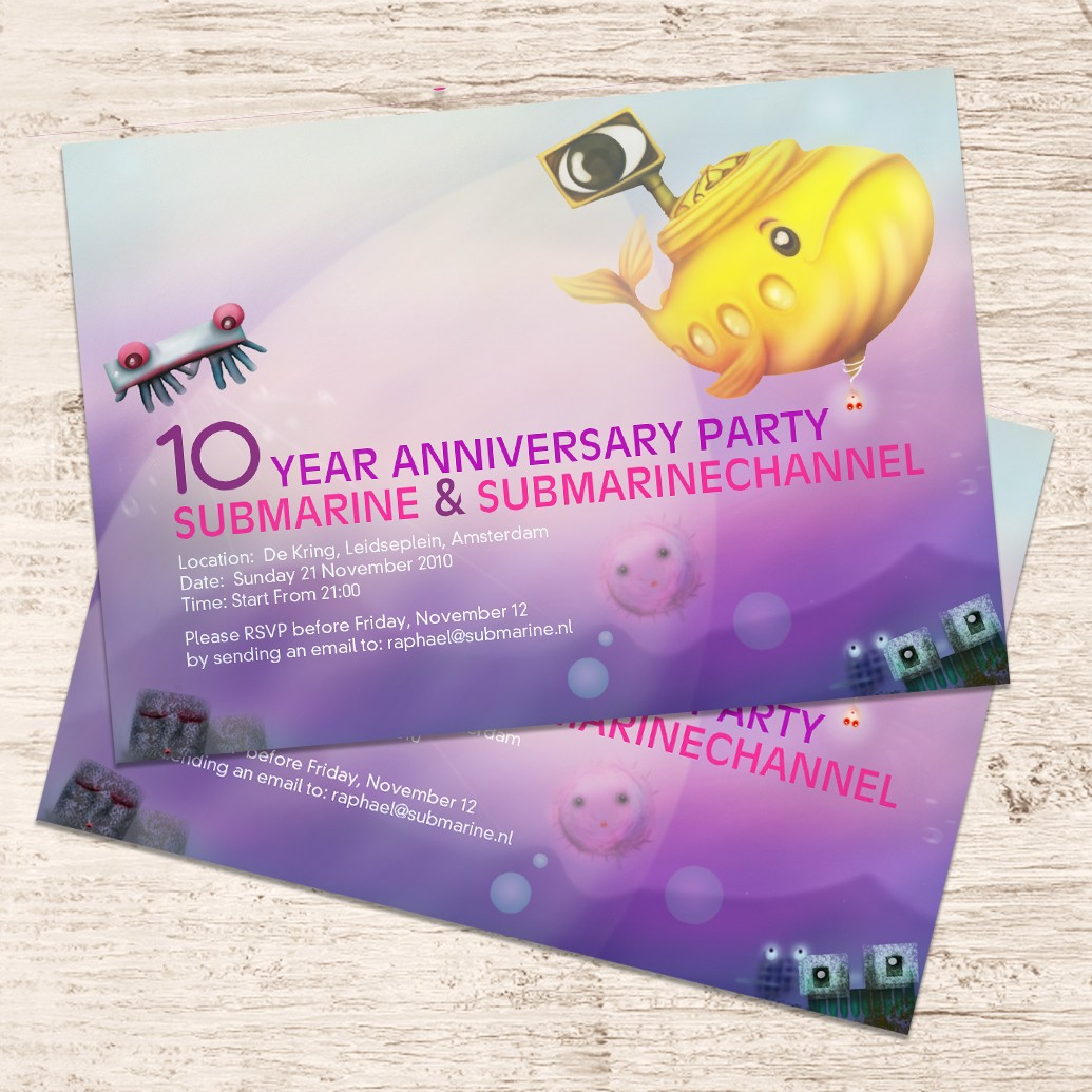 Invitation and poster for Submarine10 years anniversary party