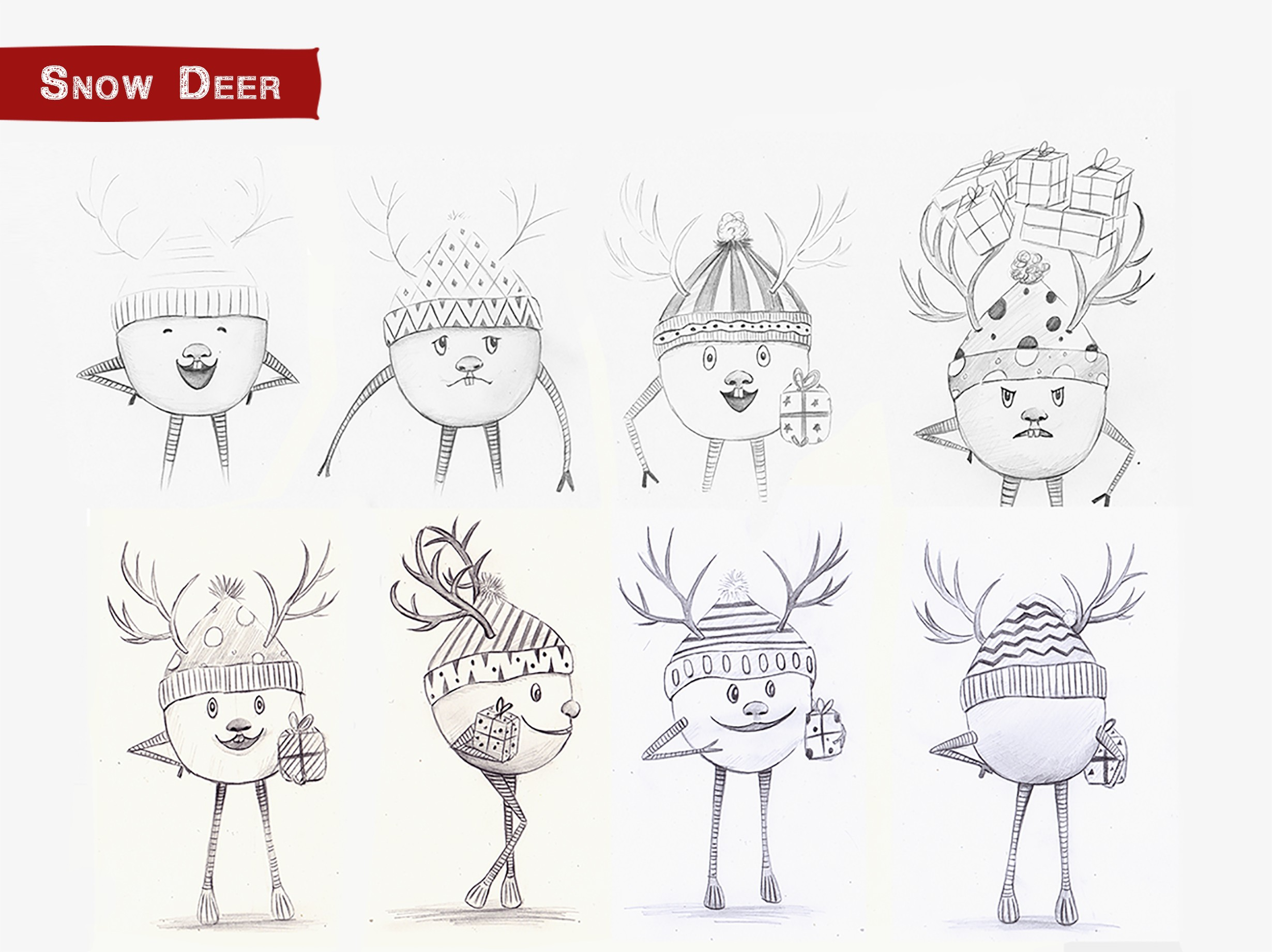 sketch-of-snow-deer