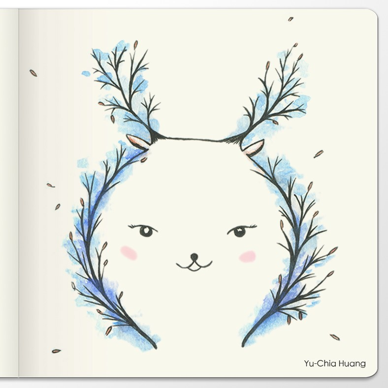 Animal illustrations in 4 seasons