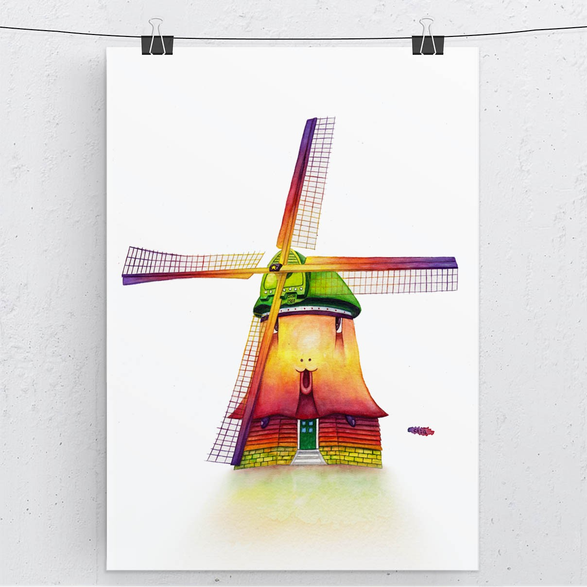 Hidden Creatures in Cities- Windmill in watercolor